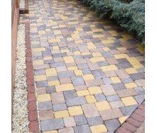 Тротуарна плитка Золотий Мандарин Плац Антик 160х60 мм на білому цементі жовтий
