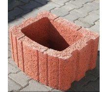 Цветочница квадратная Золотой Мандарин 500х400х250 мм на сером цементе красный