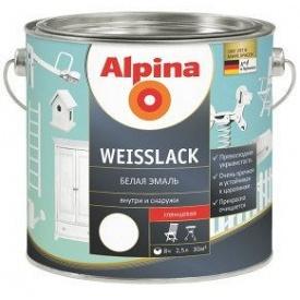 Эмаль алкидная белая Alpina Weisslack GL 2,5 л