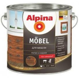 Лак алкидный для мебели и дерева Alpina Möbel 2,5 л глянцевый