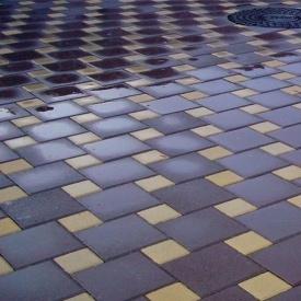 Тротуарна плитка Золотий Мандарин Квадрат великий 200х200х60 мм на сірому цементі коричневий