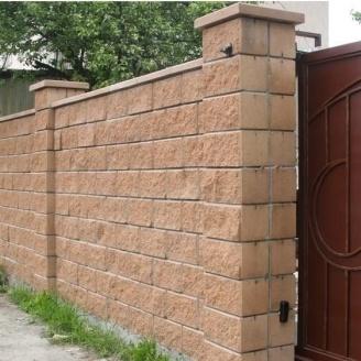 Блок декоративний для стовпа Золотий Мандарин М-200 двосторонній скол 400х400х150 мм персиковий