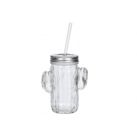 Банка с трубочкой KOOPMAN для питья 400 мл прозрачная (CD1000270)