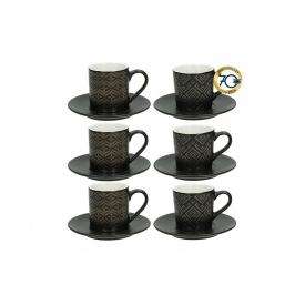 Набор кофейных чашек TOGNANA RELIEFGOLD BLA 6 шт 90 мл (RE18501M007)
