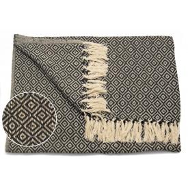 Одеяло ARTE REGAL 125х150 см бежевый с черным рисунок ромб (43356)