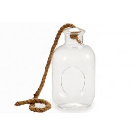 Стеклянный цилиндр ARTE REGAL подвесной на веревке 14x14x24 см (21389)