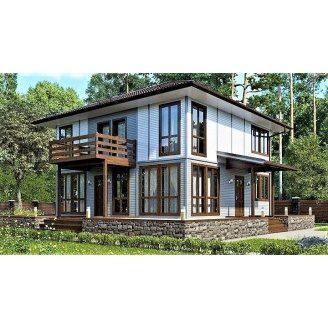 Дом из профилированного бруса, деревянный 9х10 м
