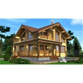 Дом двухэтажный деревянный из профилированного бруса 12х10 м