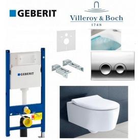 Инсталляция Geberit Duofix комплект 458.121.21.1 с унитазом Villeroy & Boch AVENTO 5656RS01