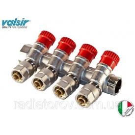 Коллектор Valsir на 4 вывода с вентилями 3/4х4х16 подача