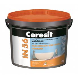 Інтер'єрна латексна фарба Ceresit IN 56 FOR KITCHEN & BATH База А шовковисто-матова 10 л біла