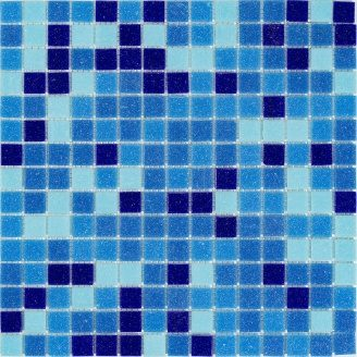Мозаика стеклянная Stella di Mare R-MOS B3132333537 микс голубой-5 на сетке 327x327x4 мм