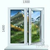 Металопластикове вікно Стеко 1300x1400 двохстворчате білого кольору