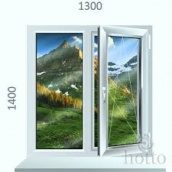 Металлопластиковое окно Стеко 1300x1400 двохстворчате белого цвета