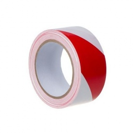 Сигнальна стрічка червоно-біла 45мм 100м