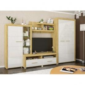 Гостинная Неон-2 Мебель-Сервис 340х218х60 дуб золотой/белый глянец