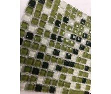 Мозаика стеклянная VIVACER MixL03 зеленый микс 30x30 cм