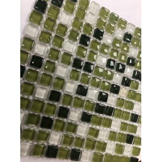 Мозаїка, скляна, VIVACER MixL03 зелений мікс 30x30 см