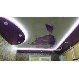 Двухуровневый натяжной потолок с рисунком
