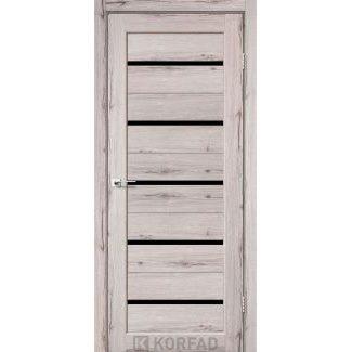 Дверное полотно Korfad PORTO PR-02 дуб нордик черное стекло 700х2000 мм Sincrolam