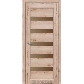Дверное полотно Korfad PORTO PR-03 дуб тобакко стекло черное 700 х2000 мм Sincrolam