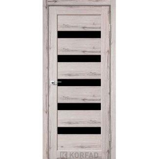 Дверное полотно Korfad PORTO PR-03 дуб нордик стекло черное 700 х2000 мм Sincrolam