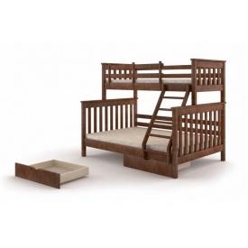 Тримісна ліжко Скандинавія Затишок 2120х1700 мм двоярусне дерев'яне