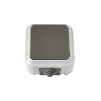 Выключатель Пралеска Аква 2-клавишный 6А IP54 серый (А5 6-224(03)