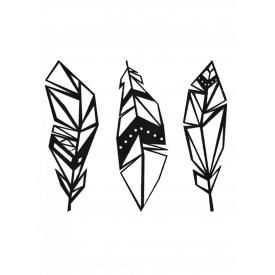 Геометричний настінний декор Пір'я SO decor дерево (01011)
