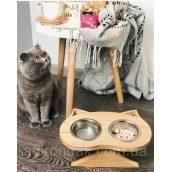 Миска для кота ADIRONDAK SABI з двума тарілочками 0,2 л 300х170х60 мм