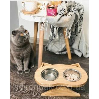 Кормушка для кота ADIRONDAK SABI с двума тарелочками 0,2 л 300х170х60 мм