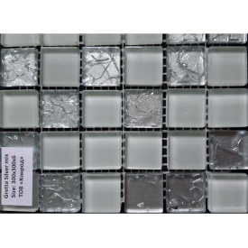 Стеклянная мозаика Керамик Полесье Gretta Silver Mix 300х300х6 мм