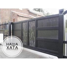 Откатные ворота с декоративной вставкой VV15