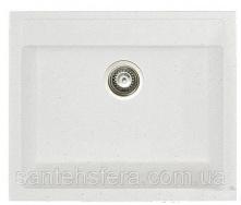 Мийка гранітна з переливом ADAMANT PRIZMA 590x500x200 мм біла