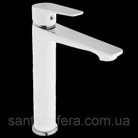 Високий змішувач для умивальника Invena DOKOS білий / хром