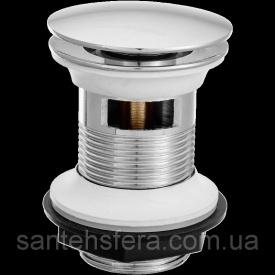 Автоматическая латунная пробка для умывальника Invena click-clack грибовидная большая Донный клапан