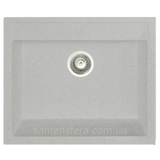 Мийка гранітна з переливом ADAMANT PRIZMA 590x500x200 мм світло-сіра