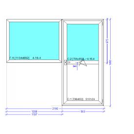 Балконний блок (вікно та двері) профіль WDS Classic 2100x1950 мм