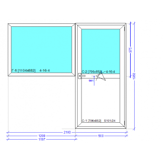 Балконный блок (окно и дверь) профиль WDS Classic 2100x1950 мм