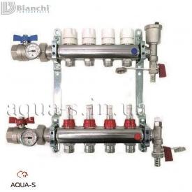 """Коллекторный блок для отопления Bianchi сталь AISI 304L с расходомерами и кранами DN 1""""x4 выхода (A344)"""