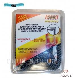 Вогнетривкий джгут + клей Collafeu GEB для камінів і топок 7-8 мм 2,5 м