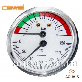 Термоманометр для опалення фронтальний 6 бар 120°C CEWAL