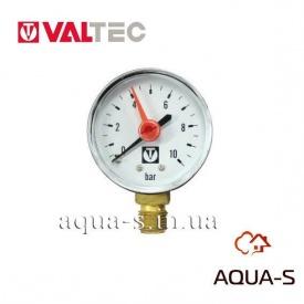 """Манометр з нижнім підключенням 50 мм 1/4"""" 0-10 бар VALTEC VT TM50D02"""