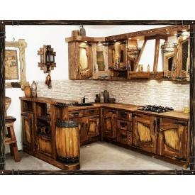 Изготовление кухни из массива дерева под старину