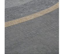 Тротуарная плитка Золотой Мандарин Креатив 60 мм на сером цементе черный