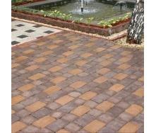 Тротуарная плитка Золотой Мандарин Кирпич Антик 240х160х90 мм персиковый на сером цементе