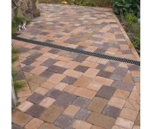 Тротуарная плитка Золотой Мандарин Старая площадь 160х40 мм на сером цементе персиковый