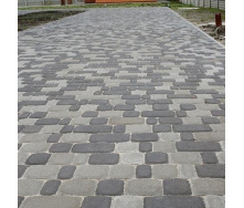Тротуарная плитка Золотой Мандарин Старый город 120х40 мм на сером цементе черный