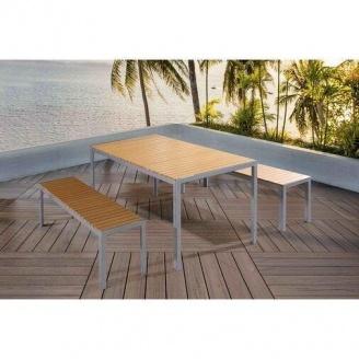 Набор стол + 2 скамейки в стиле LOFT (Garden Table - 04)