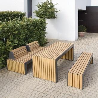 Садовый стол со скамейкой и лавочкой в стиле LOFT (Garden Table-15)